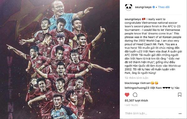 Chia sẻ của Seungri về U23 Việt Nam.
