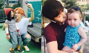 Khi idol Kpop tỏ ra 'yếu đuối' trước sự dễ thương của các em bé