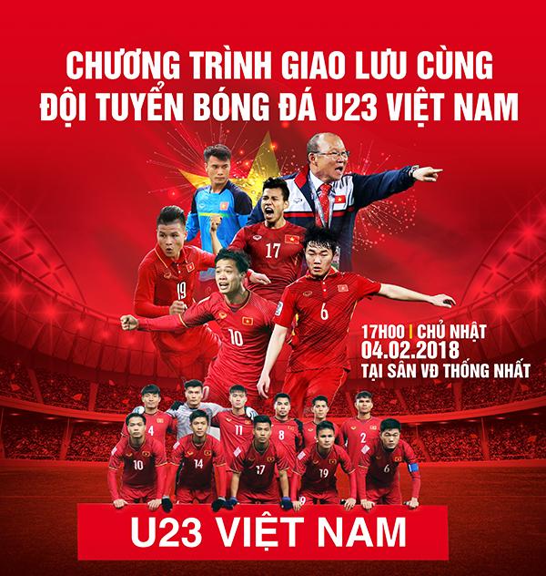 Poster chương trình giao lưu của U23 Việt Nam tại TP HCM.