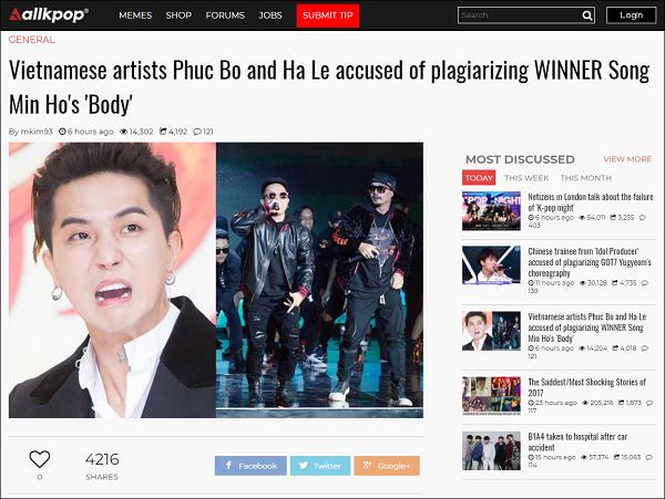 Nghi vấn đạo nhạc của Phúc Bồ và Hà Lê lên trang tin Kpop lớn.