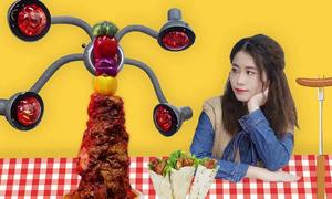 'Thánh ăn công sở' nướng thịt bằng máy uốn tóc
