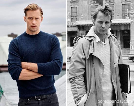 Alexander Skarsgård và Stellan Skarsgård khi 30 tuổi.