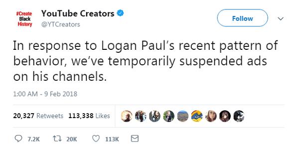 Chúng tôi tạm thời ngưng phát hành quảng cáo trên kênh Youtube của Logan Paul sau khi cân nhắcnhững hành vi không đúng mực gần đây của vlogger này.