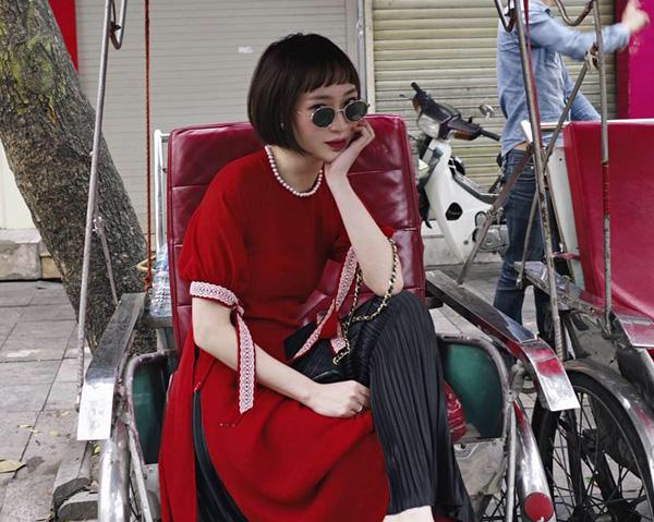 Áo dài đón Tết từ xinh yêu đến sang chảnh của hot girl Việt - 4