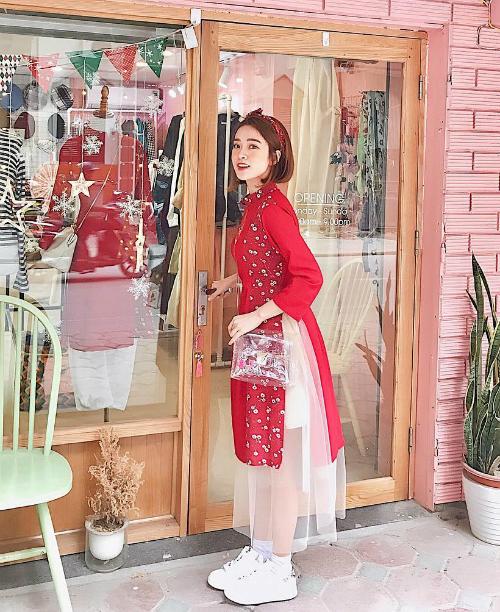 Áo dài đón Tết từ xinh yêu đến sang chảnh của hot girl Việt - 3