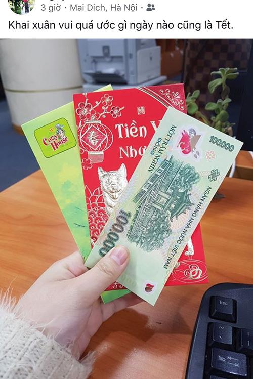 Dân văn phòng khoe tiền lì xì trong ngày đi làm sau Tết - 4