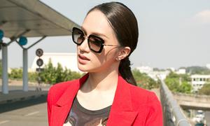 Hương Giang diện cây đỏ cá tính lên đường thi Hoa hậu chuyển giới