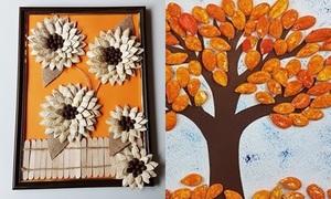 Tận dụng hạt bí thừa sau Tết làm tranh trang trí đẹp lạ