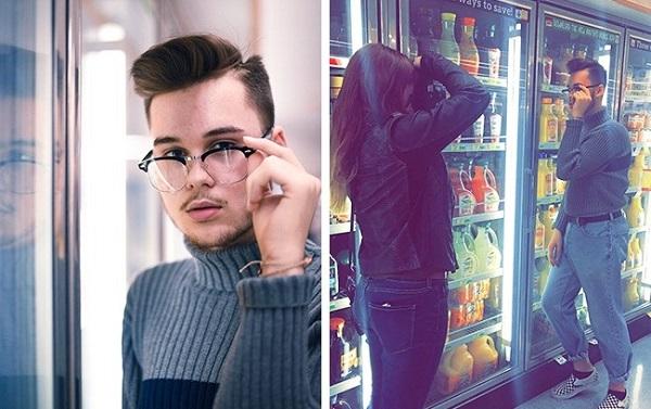Khi ánh sáng tủ lạnh trong siêu thị chuẩn như studio thì phải tranh thủ ngay.