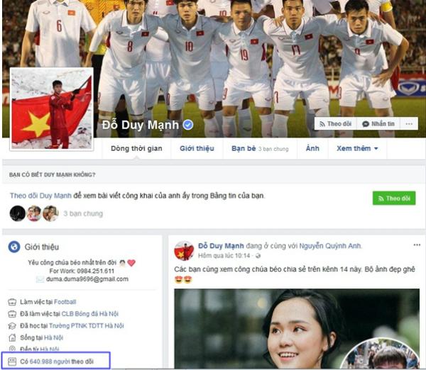 Top 6 Facebook của U23 có lượt theo dõi khủng nhất