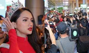 Hương Giang choáng ngợp bởi 'rừng' fan vây kín ở sân bay khi về nước