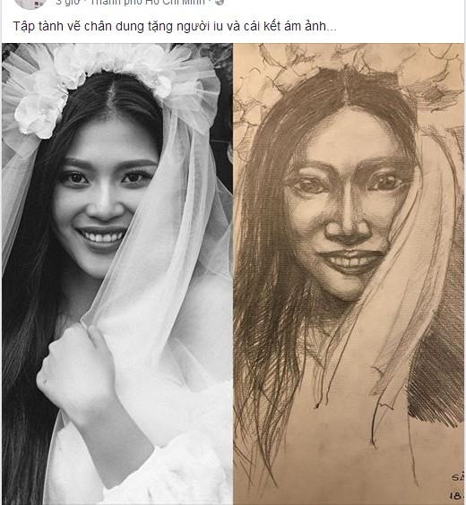 Jay Quân vẽ tranh chân dung tặng vợ.