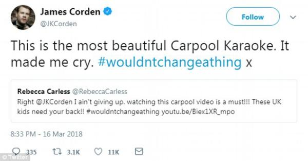 James Corden không kiềm được xúc động đã ngay lập tức chia sẻ đoạn clip trên trang cá nhân của mình.