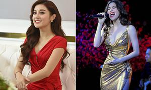 Huyền My, Hà Hồ khâu váy 'chữa cháy' tránh hớ hênh
