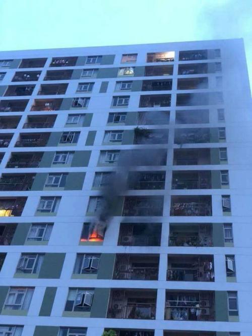 Khu vực căn hộ xảy ra hoả hoạn.