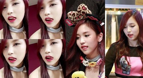 Các fan ruột đều biết Mina có sở thích liếm môi. Cô nàng trông cực sexy mỗi khi vô thức thực hiện thói quen.