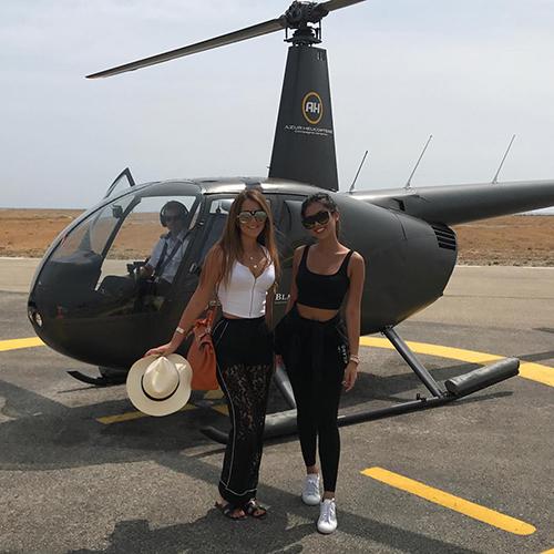 Tiên Nguyễn không chỉ check in với xe hơi mà còn check in cùng trực thăng luôn.
