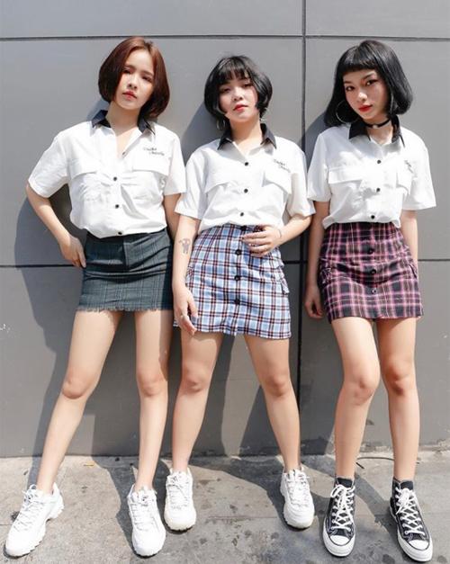 Bộ ba hot girl tóc ngắn Sài thành không cao vẫn mặc đẹp long lanh - 2