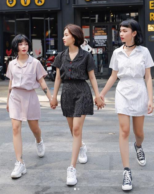 Bộ ba hot girl tóc ngắn Sài thành không cao vẫn mặc đẹp long lanh - 3