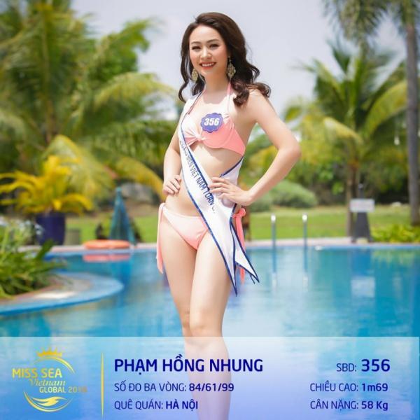 Cô gái này được nhận xét là siêu vòng 3 của cuộc thi với số đo 84 - 61 - 99 (cm). Hồng Nhung hiện là sinh viên ngành Báo chí của trường Cao đẳng truyền hình Hà Nội. Dù chưa từng tham dự bất cứ một cuộc thi nhan sắc nào trước đó nhưng cô gái này được nhận xét bởi vóc dáng và thần sắc ngày một nổi bật.