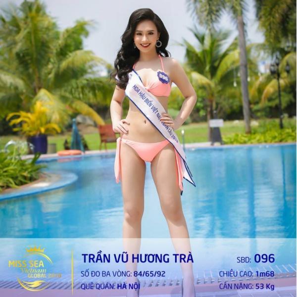 Cô gái này từng đạt danh hiệu Người đẹp ảnh - Hoa khôi thời trang 2016. Hương Trà từng là gương mặt hot girl sinh năm 1998 được giới trẻ Hà thành biết đến. Cô sở hữu chiều cao 1m70, cân nặng 51kg và số đo 3 vòng: 84 - 62 - 92 (cm). Đôi chân dài 1m10 luôn khiến Hương Trà nổi bật trong top 40.