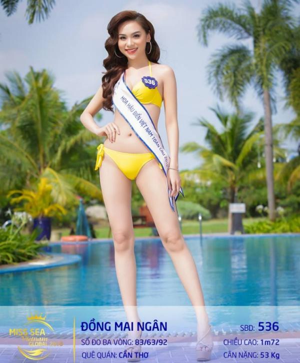 Đồng Mai Ngân là thí sinh quen mặt khi từng xuất hiện tại Hoa hậu Việt Nam 2016, Hoa khôi Nam bộ 2017 (top 30), gần đây nhất là lọt vào top 15 Hoa hậu Đại dương 2017 (top 15). Với kinh nghiệm đáng gờm này, Mai Ngân được dự đoán sẽ lọt top cao tại Hoa hậu biển Việt Nam toàn cầu 2018.
