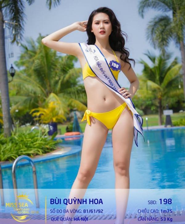Bùi Quỳnh Hoa từng lọt top 45 Hoa hậu Hoàn vũ Việt Nam 2017, đăng quang Miss Áo dài Việt Nam World 2017. Người đẹp sinh năm 1998 đến từ Hà Nội có chiều cao 1m75, số đo 81 - 62 - 94 cm. Với những kinh nghiệm này, người đẹp sinh năm 1998 tại các cuộc thi sắc đẹp này, người đẹp sinh năm 1998 được kỳ vọng sẽ làm nên chuyện. Bùi Quỳnh Hoa hiện tại là một người mẫu, đang theo học tại Trường đại học Quản trị Kinh doanh và Công nghệ.