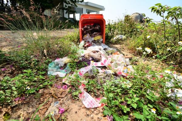 Lượng rác gồm túi ni lông,