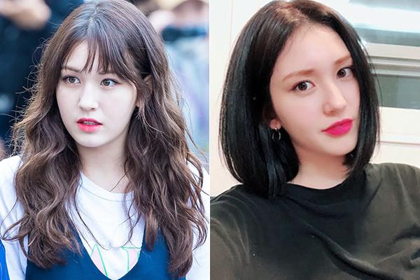 Somi là một trong ít idol bị chê lên chê xuống khi theo mốt tóc ngắn. Khác với những người đẹp Kbiz, Somi phiên bản tóc ngắn trông sang chảnh nhưng cũng có phần già dặn. Gương mặt ngây thơ của cô nàng hợp hơn cả với tóc xoăn xù.