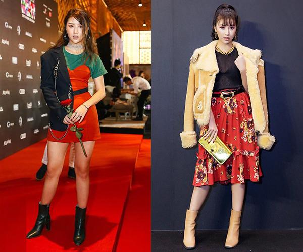 Các kiểu mix đồ rối rắm không thể hiện được cá tính thời trang của Quỳnh Anh Shyn mà chỉ khiến cô nàng trông chẳng khác gì tay mơ về thời trang.