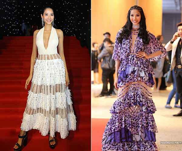 Khi đi sự kiện, Hoàng Thùy thường chọn những bộ váy tầng tầng lớp lớp, nhiều điểm nhấn diêm dúa. Kiểu trang phục này khiến chiều cao 1,76 m của cô nàng bị dìm đẹp, diện mạo trông cũng khá sến sẩm.