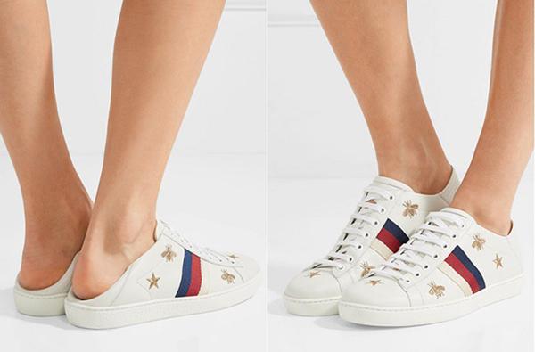 Trên thực tế, đôi sneakers Gucci của Hòa Minzy có thể đi được hai cách. Giẫm gót giày cũng là một xu hướng được hãng lăng xê để tăng thêm độ chơi cho các tín đồ thời trang.