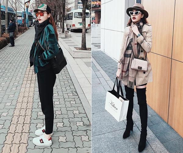 Mỗi khi đi du lịch, Kỳ Duyên thường mang theo tủ đồ quần áo hàng hiệu ngót nghét cả tỷ đồng. Thời trang du lịch của cô nàng đẳng cấp chẳng khác gì đang dự fashion show.