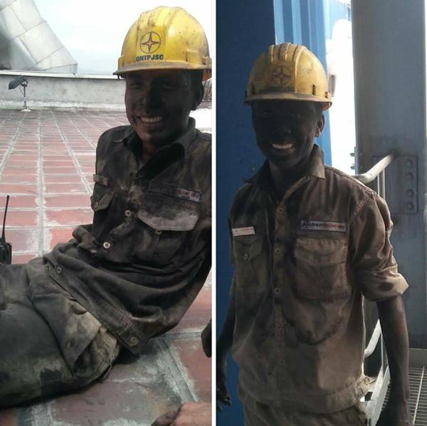 Khoảnh khắc công nhân nhiệt điện làm việc quên mệt nhận được sự chú ý.