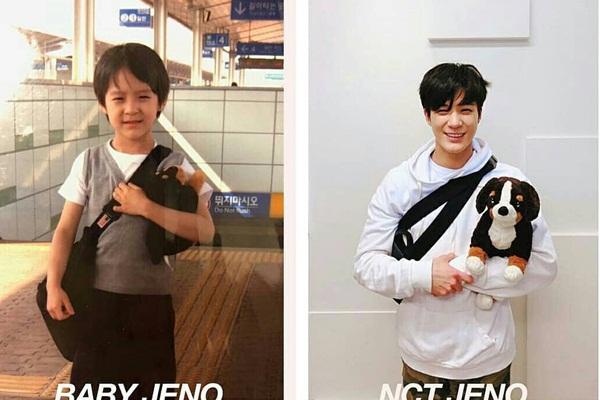 Jeno chắc là thành viên chụp ảnh có tâm nhất, đến chó bông cũng phải chọn cho chuẩn.
