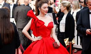 Lý Nhã Kỳ lên thảm đỏ Cannes với váy đỏ rực
