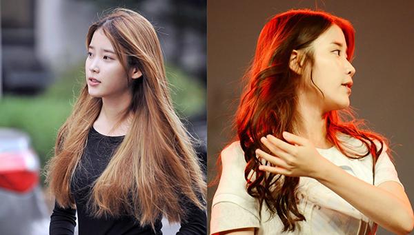 Mái tóc nguyên bản của IU có rất nhiều tóc con lưa thưa, phần đuôi rõ dấu hiệu của hư tổn. Mọi vấn đề được giải quyết nhờ bàn tay của các chuyên gia khi cô nàng lên sân khấu.