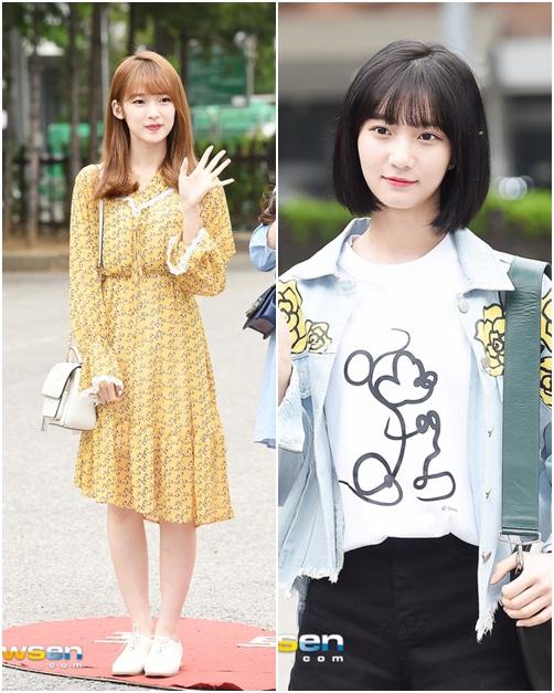 Kiểu váy liền dài họa tiết hứa hẹn trở thành xu hướng mới trong mùa hè 2018. Các cô gái của Oh My Girl luôn mang đến hình tượng gần gũi, đáng yêu.