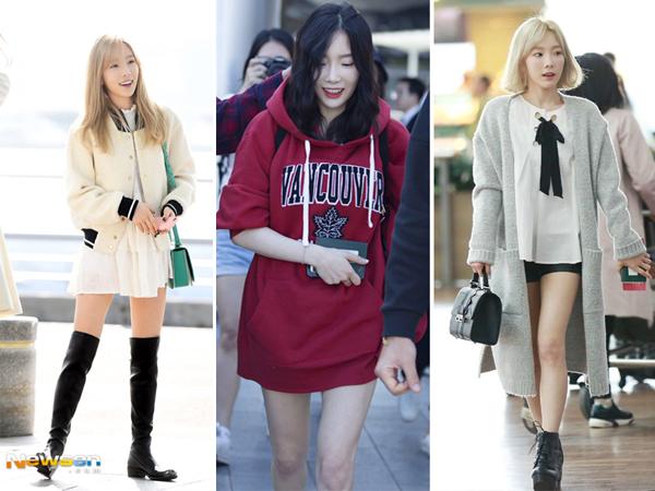 Tae Yeon thường xuyên chọn những bộ đồ có tông sáng và cực theo mốt của giới trẻ Hàn như váy kết hợp áo denim, đồng phục học sinh. Bên cạnh đó cô nàng còn để những kiểu tóc hack tuổi như tóc bob xoăn siêu đáng yêu.