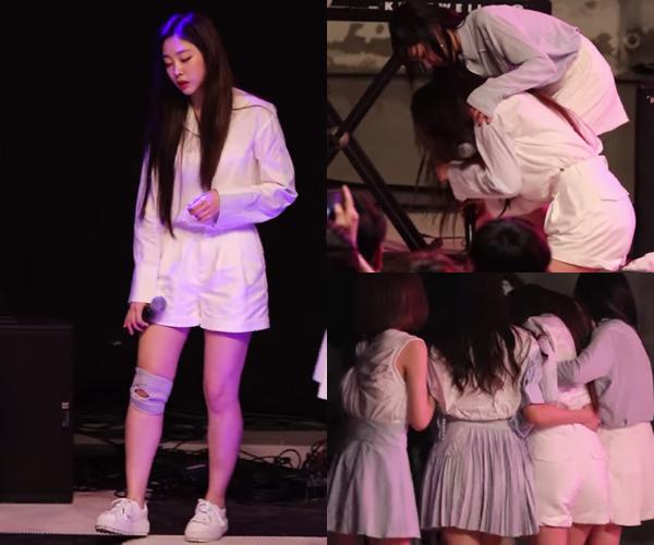 Ji Soo thở không ra hơi sau mànbiểu diễn, lảo đảo trước khi ngã quỵ xuống sân khấu và được các đồng đội dìu đi.