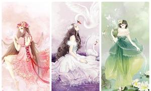 Tranh vẽ '12 thiếu nữ hoàng đạo' đẹp mộng mơ như cổ tích