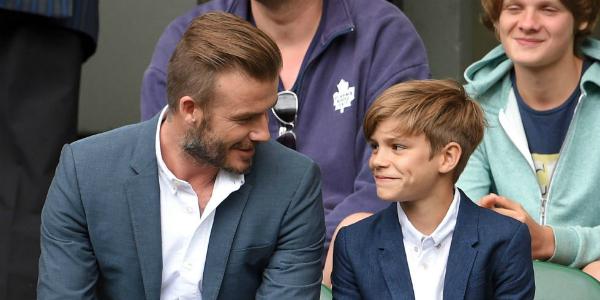 Hai cha con David Beckham và Romeo Beckham.