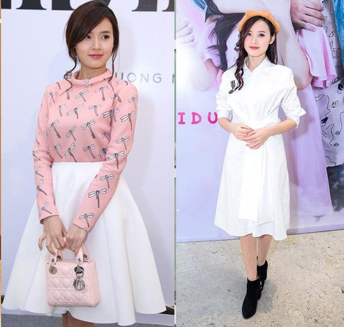 """<p> <strong>Midu:</strong>So với Đỗ Mỹ Linh và Jun Vũ, nữ diễn viên <em>Thiên mệnh anh hùng</em> thuộc thế hệ hot girl đời đầu. Cô nàng theo đuổi hình ảnh ngọc nữ trong sáng với gu thời trang nhẹ nhàng có phần """"bánh bèo"""".</p>"""
