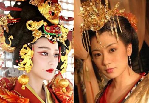 Tạo hình của Phạm Băng Băng và Giả Tịnh Văn (phải) trong 2 phiên bản Võ Tắc Thiên.