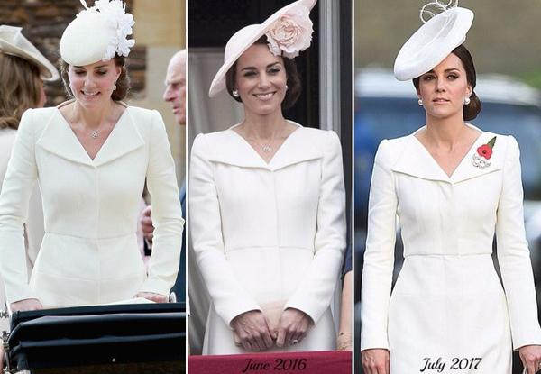Nổi tiếng là người rất tiết kiệm trong khoản sắm sửa quần áo, Kate Middleton chẳng ngại diện đến đám cưới hoàng gia thiết kế từng được cô mặc ít nhất 3 lần trước đó.