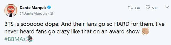 Một tài khoản nhận xét: Tôi chưa bao giờ thấy fan phát cuồng đến vậy trong một lễ trao giải.