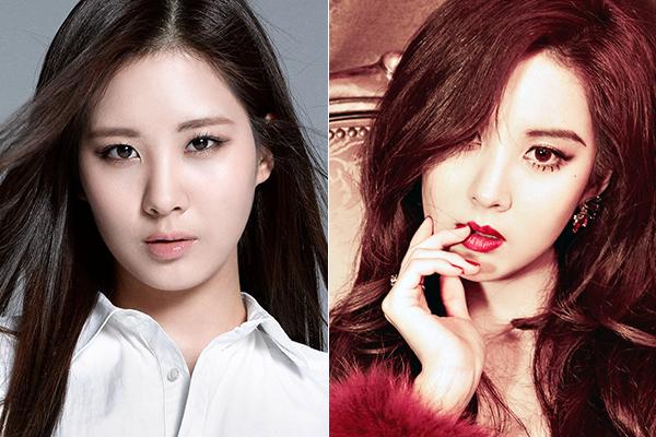 Seo Hyun chẳng cần dao kéo mất công, chỉ cần thay cách kẻ lông mày từ ngang như đường thẳng thành cong hất là đã đủ đổi khác vẻ ngoài.
