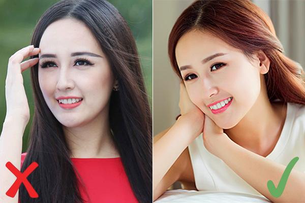 Để có hàng lông mày đúng chuẩn, Hoa hậu Việt Nam 2006 nên để ý kẻ đuôi lông mày ngang bằng hoặc cao hơn một chút so với đầu lông mày, không nên kẻ mày dài quá nhiều so với đuôi mắt.