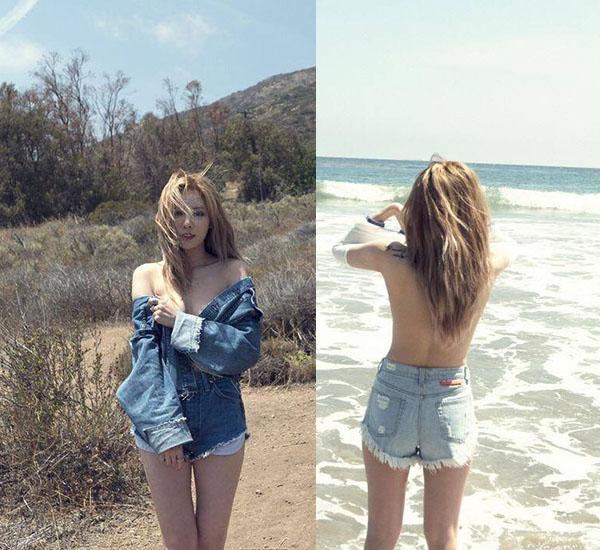 Cô nàng nổi loạn Hyun Ah từng gây sốc khi chụp ảnh bán nude khêu gợi. Những bức ảnh của cô đề cao sự tự do, phóng khoáng và vẻ gợi cảm của người phụ nữ.