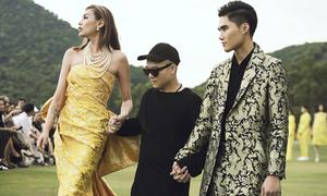 Võ Hoàng Yến catwalk với giày 15 cm trên sân golf